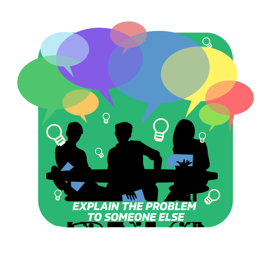 Explain the problem to someone else. untitled-2-02 Sometimes talking with someone else about the situation, even if it's someone who has no coding knowledge, will help you as an emotional release. It will also help you understand the situation better because you will use simple language to explain the problem and hopefully you will come up with new possible solution ideas.  On the other hand, asking for help from a co-worker when we no longer see the light at the end of the tunnel can help, and a pair of fresh eyes are always welcome. They might see the problem differently than you